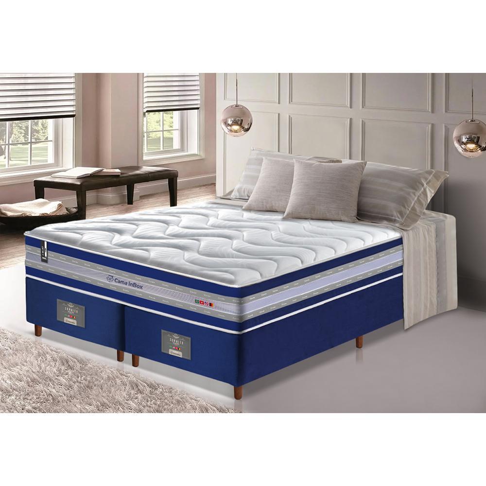 Conjunto Cama Box Queen de Molas Ensacadas D33 Cama inBox Select Firme 158x198x71 Azul