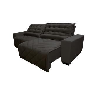 Sofá 2,32m Retrátil e Reclinável com Molas Cama inBox Plus Tecido Suede Velusoft Café