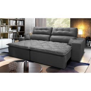 Sofá 3,02m Retrátil e Reclinável com Molas Cama inBox Confort Tecido Suede Velusoft Cinza