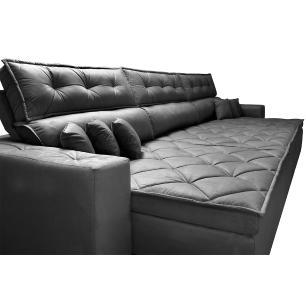 Sofá Retrátil e Reclinável 3,82m Austin com Molas no Assento Tecido Suede Velusoft Preto