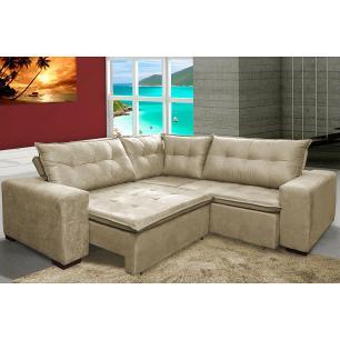 Sofa de Canto Retrátil e Reclinável com Molas Cama inBox Oklahoma 2,70m x 2,70m Suede Velusoft Bege