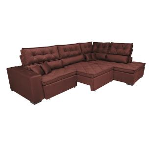 Sofa de Canto Retrátil e Reclinável com Molas Cama inBox Platinum 3,40x2,36 Tecido Suede Vinho