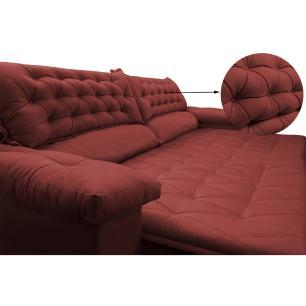 Sofá Retrátil, Reclinável Molas Ensacada Cama inBox Botonê 2,52m Espuma Viscoelástico Suede Vermelho