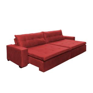 Sofá Retrátil e Reclinavel Oklahoma 2,42 Mts Com Molas e Pillow no Assento Tecido Suede Vermelho - Cama InBox