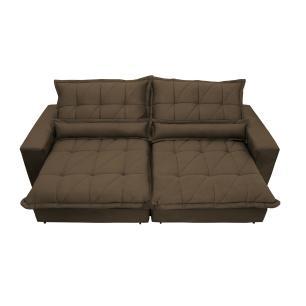 Sofa Retrátil e Reclinável 2,32m com Molas Ensacadas Cama inBox Soft Tecido Suede Café