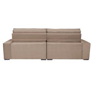 Sofá Austin 2,62m Retrátil, Reclinável com Molas no Assento e Almofadas, Tecido Suede Castor