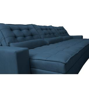 Sofá Retrátil e Reclinável 4,12m com Molas Ensacadas Cama Inbox Gold Tecido Suede Velusoft Azul
