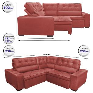 Sofa de Canto Retrátil e Reclinável com Molas Cama inBox Austin 2,50m x 2,50m Suede Velusoft Vermelho