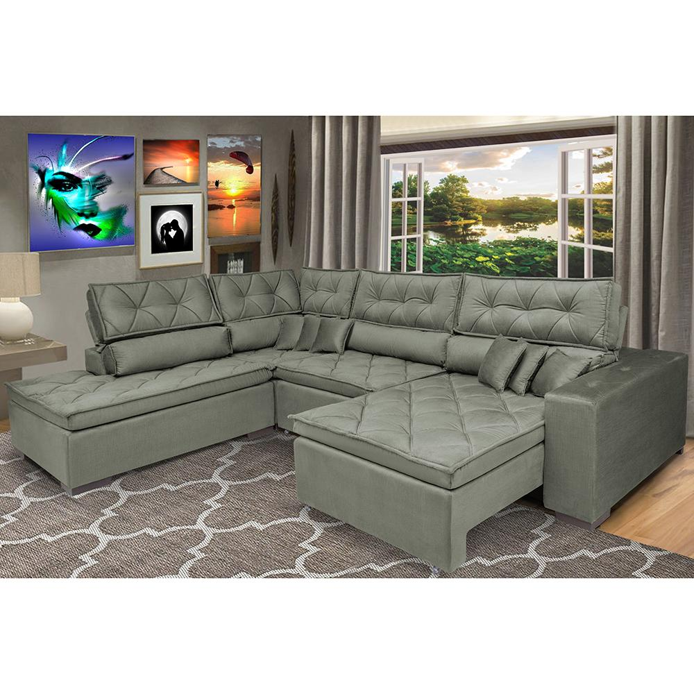 Sofa de Canto Retrátil e Reclinável com Molas Cama inBox Platinum Esquerdo 3,40x2,36 Suede Cinza