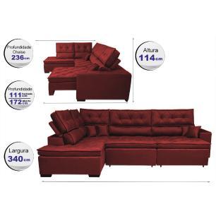 Sofá de Canto Retrátil e Reclinável com Molas Cama inBox Platinum Esquerdo 3,40x2,36 Suede Vermelho