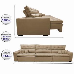 Sofá Retrátil e Reclinável 4,12m Austin com Molas no Assento Tecido Suede Velusoft Castor