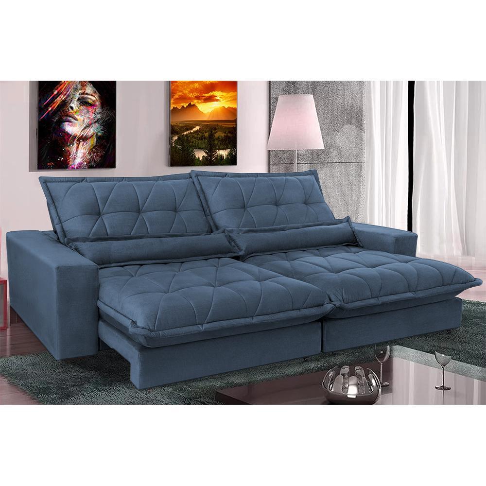 Sofa Retrátil e Reclinável 2,52m com Molas Ensacadas Cama inBox Soft Tecido Suede Azul