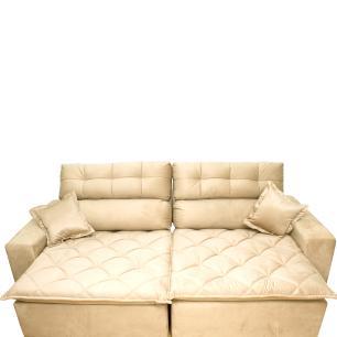 Sofá 2,82m Retrátil e Reclinável com Molas Cama inBox Confort Tecido Suede Velusoft Bege