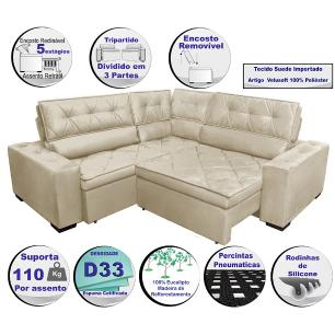 Sofa de Canto Retrátil e Reclinável com Molas Cama inBox Austin 2,20m x 2,20m Suede Velusoft Bege