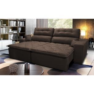 Sofá 2,22m Retrátil e Reclinável com Molas Cama inBox Confort Tecido Suede Velusoft Café
