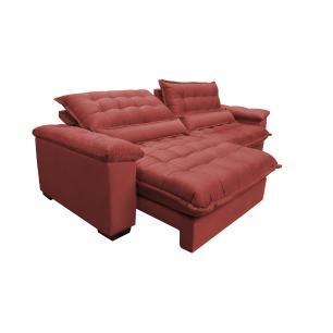 Sofá Retrátil e Reclinável 2,92m com Molas Ensacadas Cama inBox Aconchego Tecido Suede Vermelho