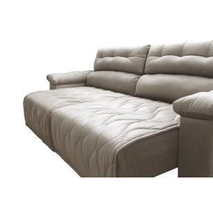 Sofá 2,42m Retrátil e Reclinável com Molas Cama inBox Top Tecido Suede Velusoft Bege