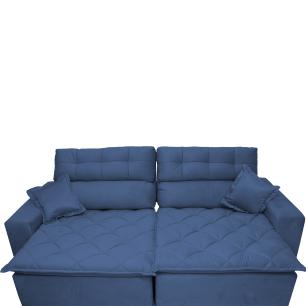 Sofá 2,32m Retrátil e Reclinável com Molas Cama inBox Confort Tecido Suede Velusoft Azul