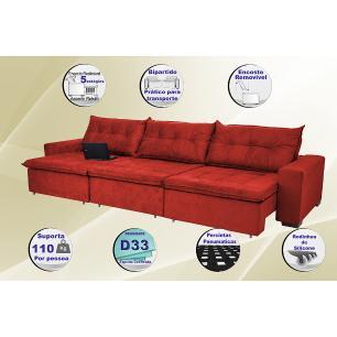 Sofá Austrália 4,12 Mts Retrátil, Reclinável Com Molas e Pillow no Assento Tecido Suede Vermelho- Cama InBox