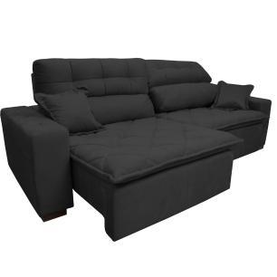 Sofá 2,52m Retrátil e Reclinável com Molas Cama inBox Confort Tecido Suede Velusoft Preto