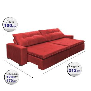 Sofá Retrátil e Reclinavel Oklahoma 2,12 Mts Com Molas e Pillow no Assento Tecido Suede Vermelho - Cama InBox
