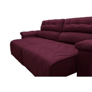 Sofá 2,52m Retrátil e Reclinável com Molas Cama inBox Top Tecido Suede Velusoft Vinho