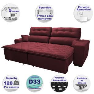 Sofá 2,72m Retrátil e Reclinável com Molas Cama inBox Confort Tecido Suede Velusoft Vinho