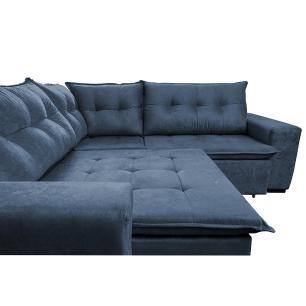 Sofa de Canto Retrátil e Reclinável com Molas Cama inBox Oklahoma 2,20m x 2,20m Suede Velusoft Azul