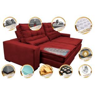 Sofá Retrátil e Reclinável com Molas Ensacadas Cama inBox Gold 2,92m Tecido Suede Velusoft Vermelho