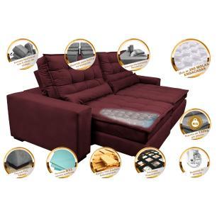 Sofá Retrátil e Reclinável com Molas Ensacadas Cama inBox Gold 2,52m Tecido Suede Velusoft Vinho