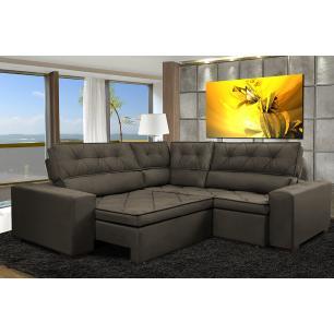 Sofa de Canto Retrátil e Reclinável com Molas Cama inBox Austin 2,60m x 2,60m Suede Velusoft Café
