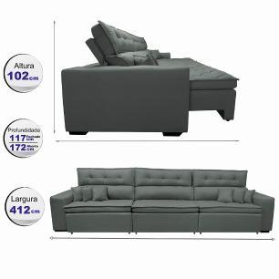 Sofá Retrátil e Reclinável 4,12m Austin com Molas no Assento Tecido Suede Velusoft Cinza