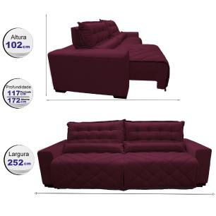 Sofá 2,52m Retrátil e Reclinável com Molas Cama inBox Plus Tecido Suede Velusoft Vinho