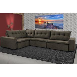 Sofa de Canto Retrátil e Reclinável com Molas Cama inBox Oklahoma 3,45X2,41 ou 2,41X3,45 Café