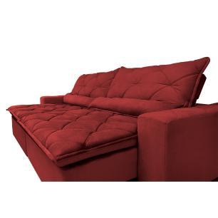 Sofá Magnum 2,42m Retrátil, Reclinável, Molas no Assento e Almofadas Lombar Suede Vermelho Cama InBox