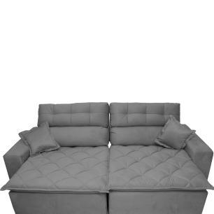 Sofá 2,22m Retrátil e Reclinável com Molas Cama inBox Confort Tecido Suede Velusoft Cinza