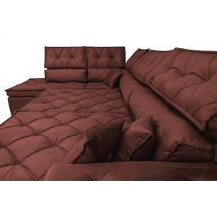Sofa de Canto Retrátil e Reclinável com Molas Cama inBox Platinum Esquerdo 3,40x2,36 Suede Vinho