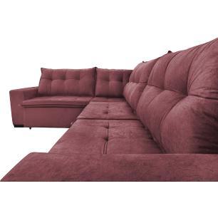 Sofa de Canto Retrátil e Reclinável com Molas Cama inBox Oklahoma 3,65X2,51 ou 2,51X3,65 Vinho