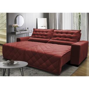 Sofá 2,02m Retrátil e Reclinável com Molas Cama inBox Plus Tecido Suede Velusoft Vermelho