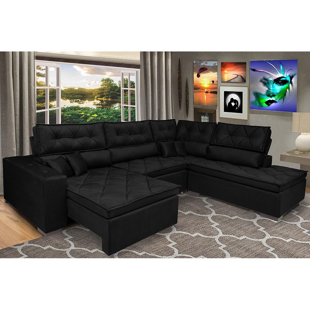 Sofa de Canto Retrátil e Reclinável com Molas Cama inBox Platinum 3,40x2,36 Tecido Suede Preto