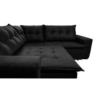 Sofá de Canto Retrátil, Reclinável, Molas Cama inBox Oklahoma 2,70m x 2,70m Suede Velusoft Preto