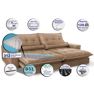 Sofa Retrátil e Reclinável 2,92m com Molas Ensacadas Cama inBox Soft Tecido Suede Castor