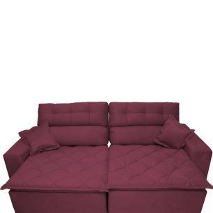 Sofá 2,42m Retrátil e Reclinável com Molas Cama inBox Confort Tecido Suede Velusoft Vinho
