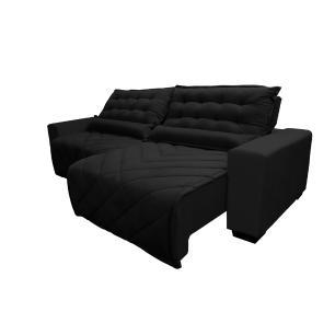 Sofá 2,12m Retrátil e Reclinável com Molas Cama inBox Plus Tecido Suede Velusoft Preto