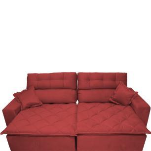 Sofá 3,02m Retrátil e Reclinável com Molas Cama inBox Confort Tecido Suede Velusoft Vermelho