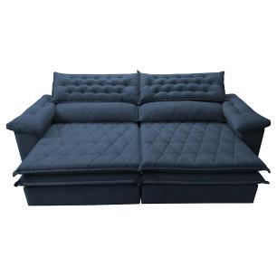 Sofá Retrátil e Reclinável Molas Ensacadas Cama inBox Botonê 2,12m Espuma Viscoelástico Suede Azul