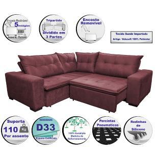 Sofa de Canto Retrátil e Reclinável com Molas Cama inBox Oklahoma 2,30m x 2,30m Suede Velusoft Vinho