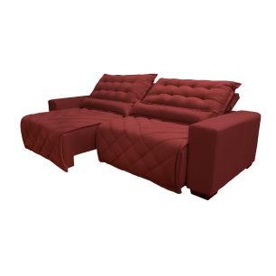 Sofá 2,52m Retrátil e Reclinável com Molas Cama inBox Plus Tecido Suede Velusoft Vermelho