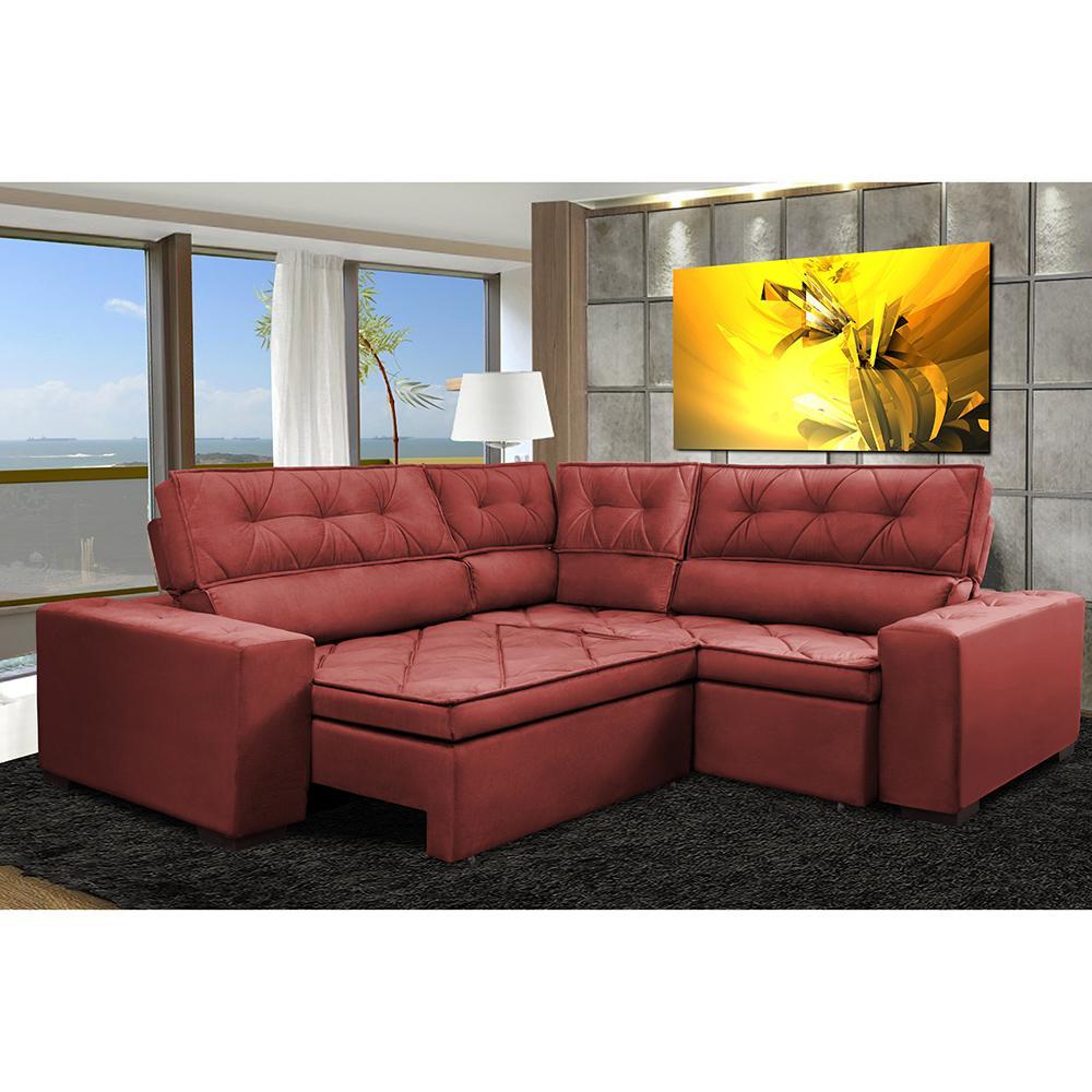 Sofa de Canto Retrátil e Reclinável com Molas Cama inBox Austin 2,40m x 2,40m Suede Velusoft Vermelho