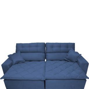 Sofá 2,72m Retrátil e Reclinável com Molas Cama inBox Confort Tecido Suede Velusoft Azul